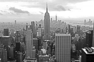 Misty New York City skyline