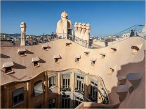 Gaudi apartments and chimneys